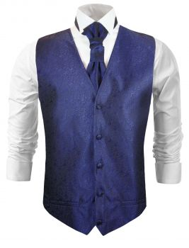 Blue wedding vest baroque waistcoat with cravat