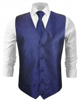 Wedding vest with necktie blue floral