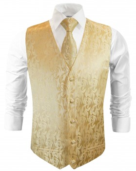 Wedding vest with necktie gold cream floral