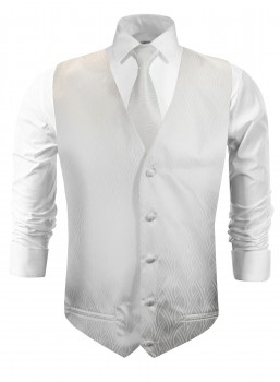 Wedding vest with necktie ivory striped