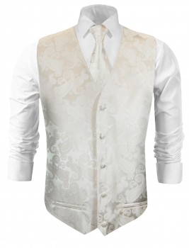 Wedding vest with necktie ivory paisley