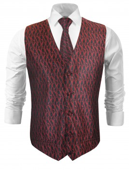 Wedding vest with necktie black red baroque