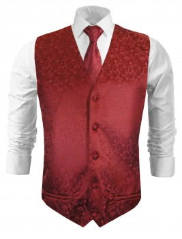 Wedding vest with necktie maroon red floral