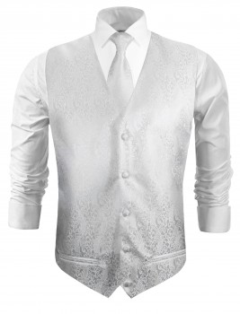 Wedding vest with necktie white baroque