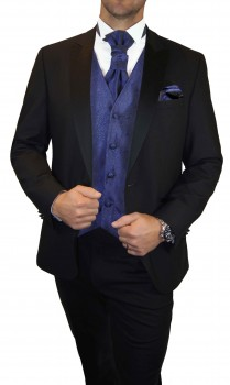 Wedding waistcoat men blue with matching tuxedo v8
