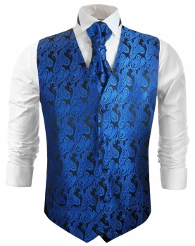 Blue wedding vest paisley waistcoat with cravat
