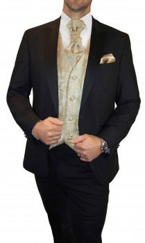 Wedding waistcoat men cappuccino floral with matching tuxedo v42
