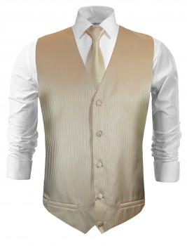 Festive vest with necktie cappuccino brown striped