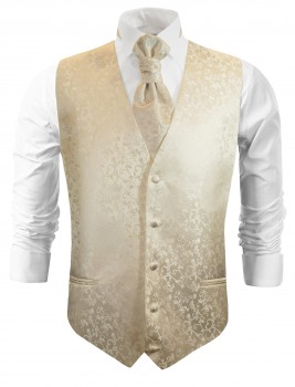 Champagne wedding vest floral waistcoat with cravat