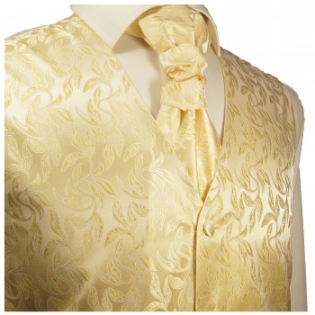 WEDDING VEST SET cream gold and Smoking Shirt white V15HL25
