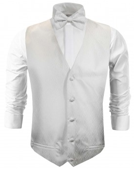 Ivory wedding vest striped waistcoat with bow tie