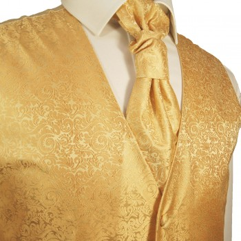 Gold waistcoat for wedding with necktie ascot tie pocket square and cufflinks v97