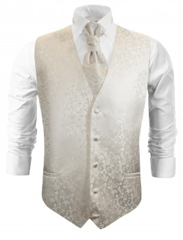 Ivory wedding vest floral waistcoat with cravat