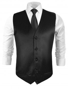 Festive vest with necktie black solid
