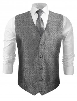 Festive vest with necktie silver grey paisley