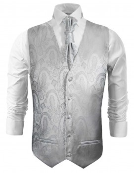 Wedding waistcoat with ascot tie silver paisley