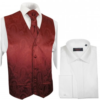 WEDDING VEST SET red and Wedding Shirt white V1HL8