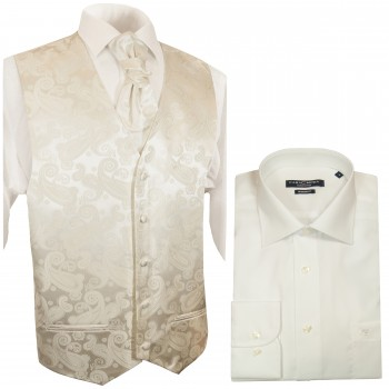 WEDDING VEST SET cream and SLIM LINE Shirt champagne V19HL31