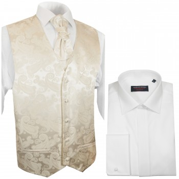 WEDDING VEST SET creme and Wedding Shirt white V19HL8