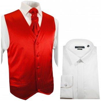 WEDDING VEST SET red and Smoking Shirt white V24HL25