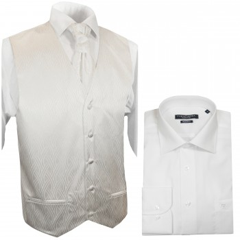WEDDING VEST SET ivory + Modern LINE Shirt white V25HL30
