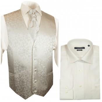 WEDDING VEST SET ivory and Slim Line Shirt creme V41HL31