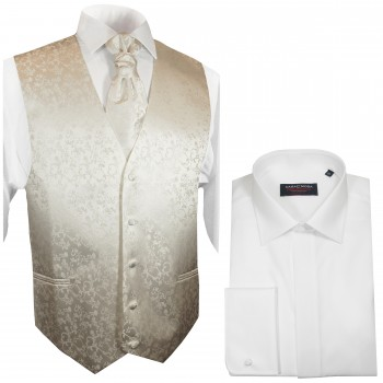 WEDDING VEST SET ivory and Wedding Shirt white V41HL8