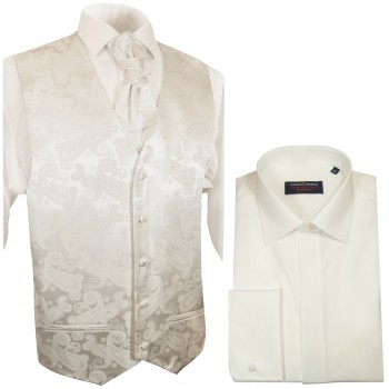 WEDDING VEST SET ivory and Wedding Shirt creme V44HL2