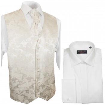 WEDDING VEST SET ivory and Wedding Shirt white V44HL8