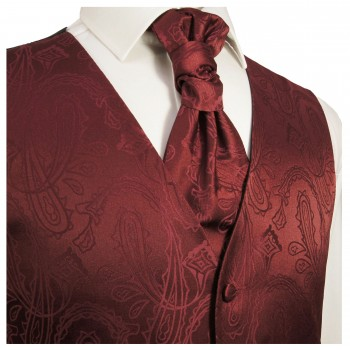 WEDDING VEST SET red and Shirt Slim Fit creme V1HL82