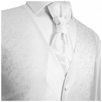White waistcoat for wedding with necktie ascot tie pocket square and cufflinks v20