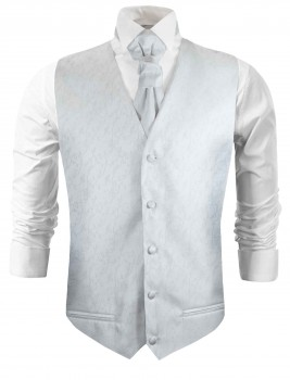 White silver wedding vest floral waistcoat with cravat