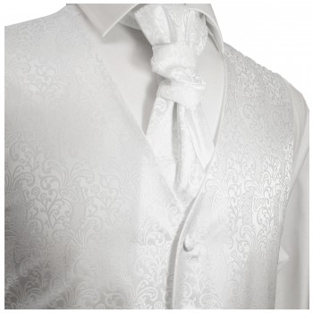 White waistcoat for wedding with necktie ascot tie pocket square and cufflinks v43