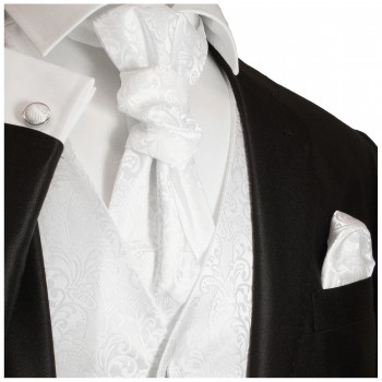 White wedding mens vest baroque pattern v43