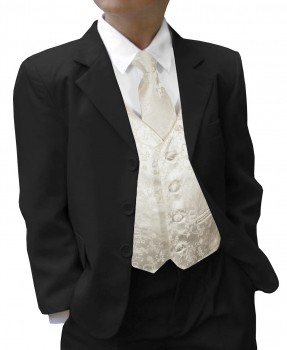 Partner combi - black and ivory wedding suit with waistcoat set and shirt + boys suit and vest set