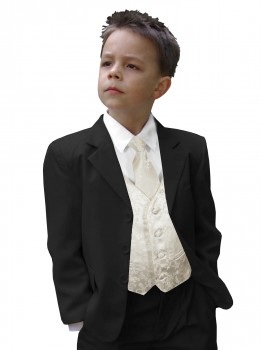 Boys tuxedo suit black + ivory waistcoat set with mens tie