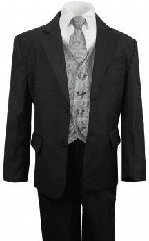 Boys suit black + gray paisley vest set KA25+KV30