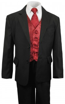 Boys tuxedo suit black + red vest set KA25+KV95