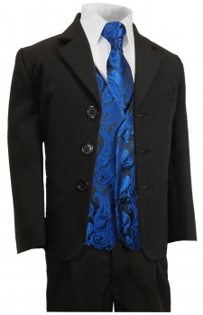 Boys tuxedo suit black + blue paisley vest set KA20+KV98