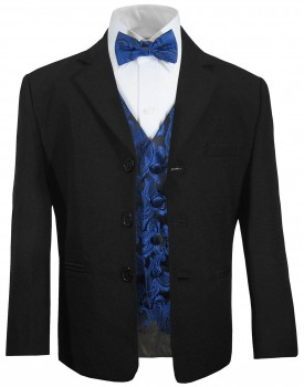 Boys tuxedo suit black + blue paisley vest set KA20+KV98 with bow tie
