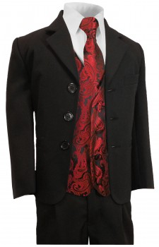 Boys suit black + red paisley vest set KA20+KV99