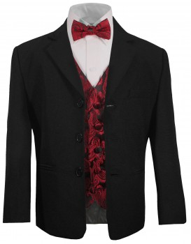 Boys suit black + red paisley vest set KA20+KV99 with bow tie