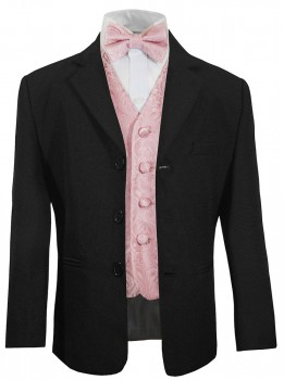 Boys suit black + pink waistcoat set with bow tie