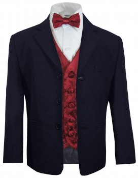 Boys suit blue + red vest with bow tie