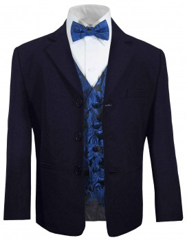 Boys suit navy blue + blue paisley waistcoat set with bow tie