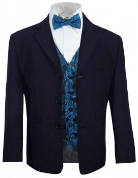 Boys suit navy blue + petrol paisley waistcoat set with bow tie