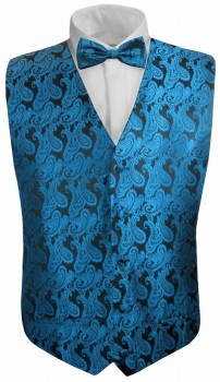 Petrol paisley boys waistcoat and bow tie | festive vest set and bow tie