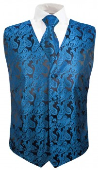 Petrol paisley boys waistcoat and necktie | festive vest set and tie