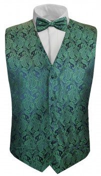 Green paisley boys waistcoat and bow tie | festive vest set and bow tie