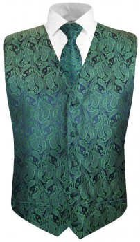 Green paisley boys waistcoat and necktie | festive vest set and tie